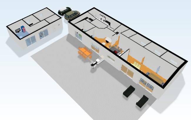 Ska man bygga. Huset och gästhuset i 3D